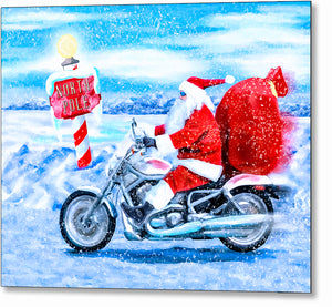 Santa Claus On A Motorcycle - Christmas Metal Print