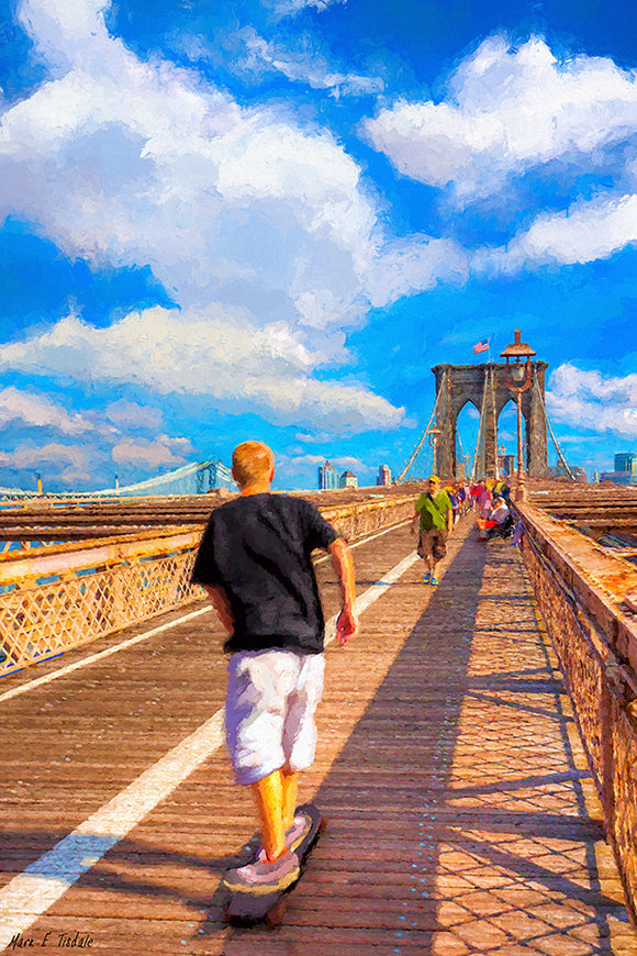 Skateboarding - Brooklyn Bridge Art Print