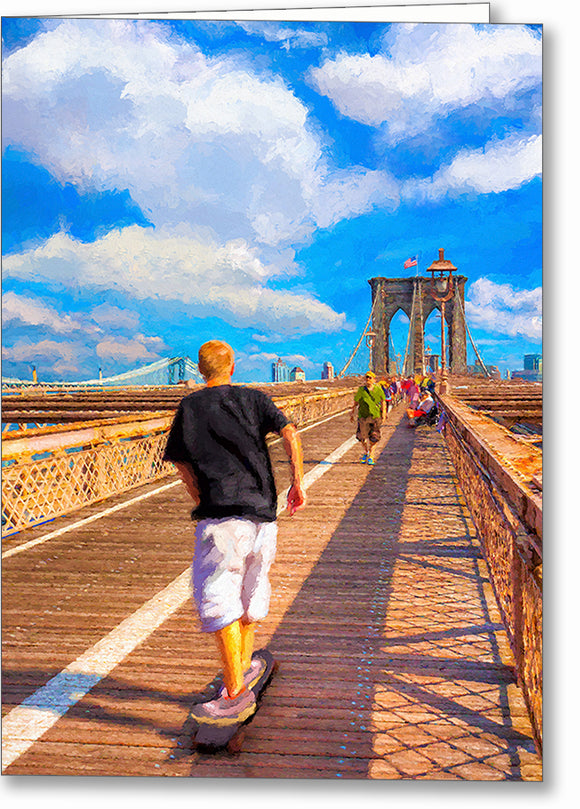 Skateboarding - Brooklyn Bridge Greeting Card