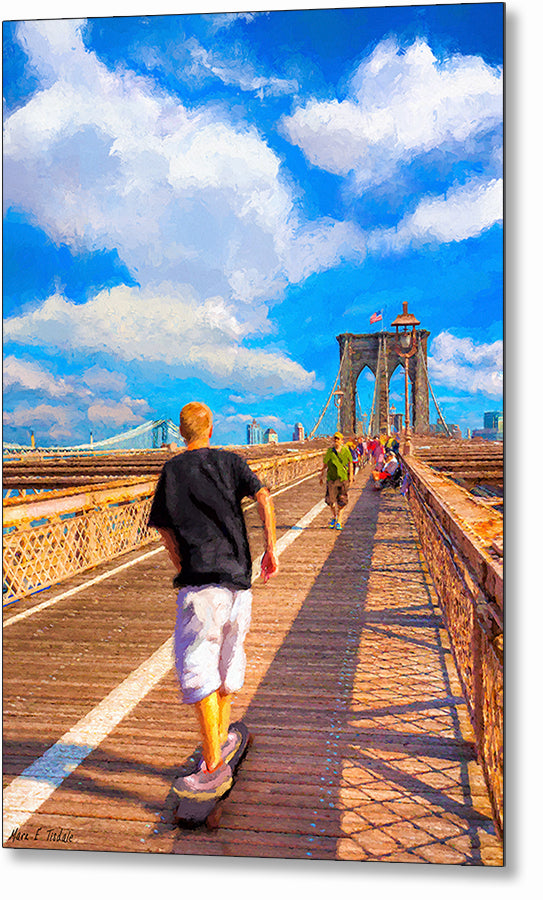Skateboarding - Brooklyn Bridge Metal Print