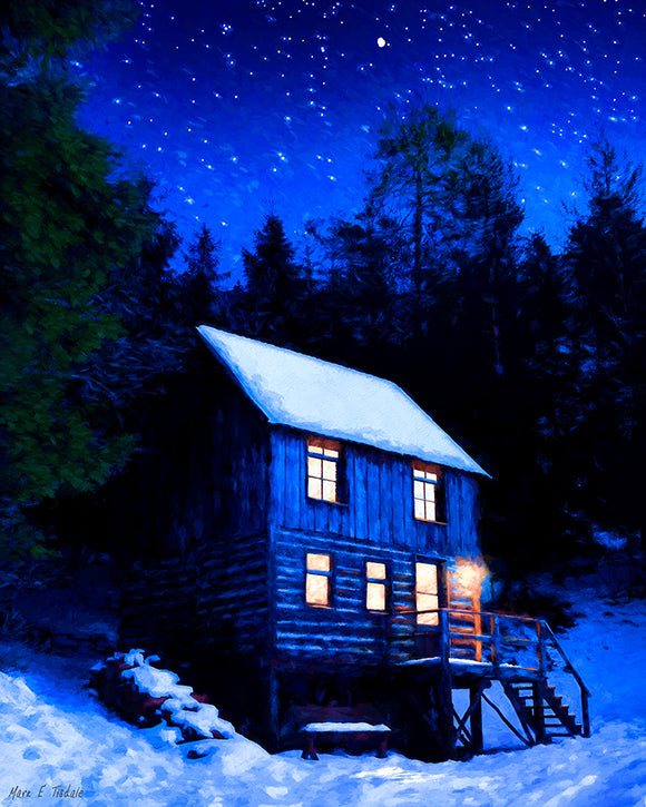 Starry Night - Snowy Cabin Art Print
