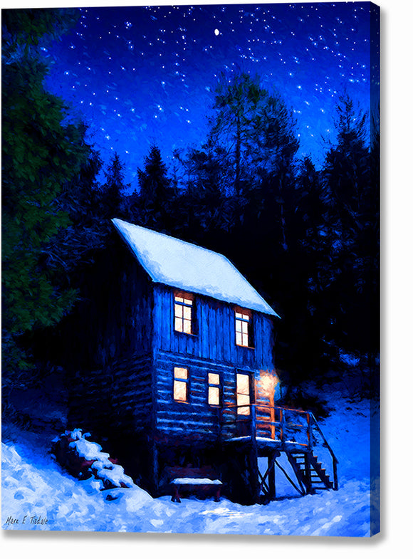 Starry Night - Snowy Cabin Canvas Print