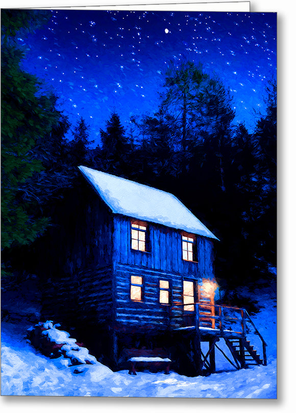 Starry Night - Snowy Cabin Greeting Card
