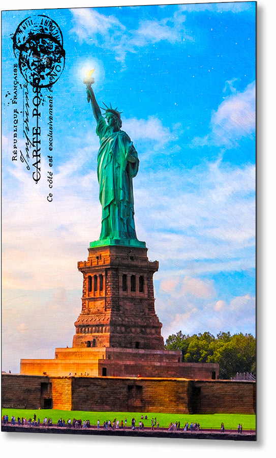 Statue Of Liberty - Vintage Style Metal Print