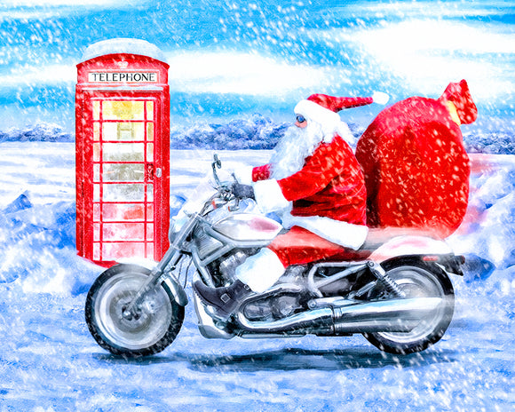 Telephone Box And Santa - British Christmas Art Print