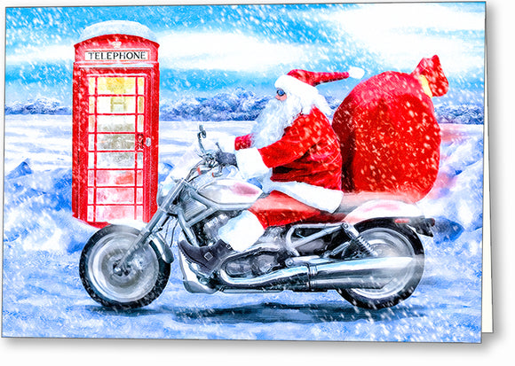 Telephone Box And Santa - British Christmas Card