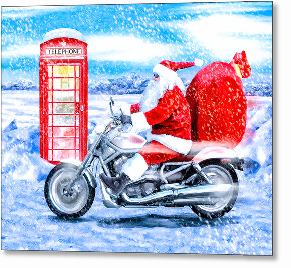 Telephone Box And Santa - British Christmas Metal Print
