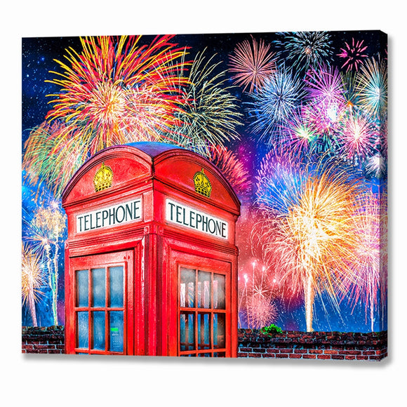 Telephone Box - London Fireworks Canvas Print