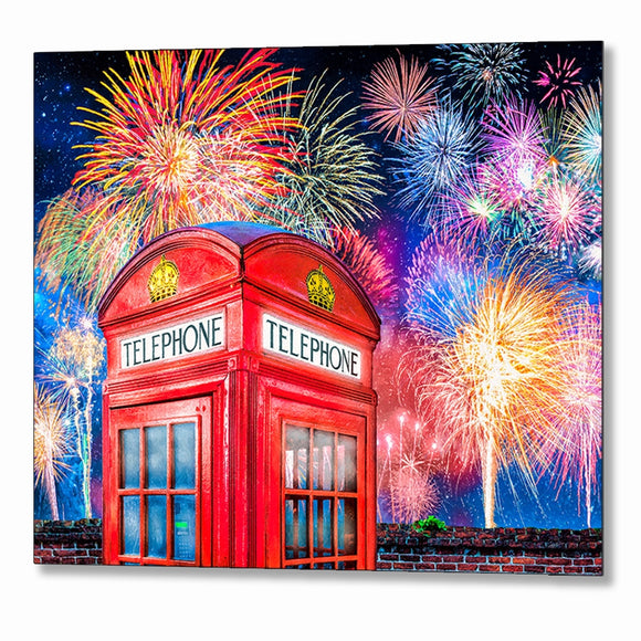 Telephone Box - London Fireworks Metal Print