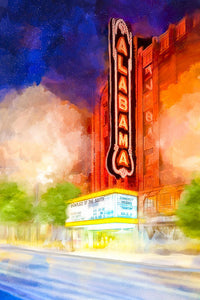 The Alabama Theatre By Night - Art Print