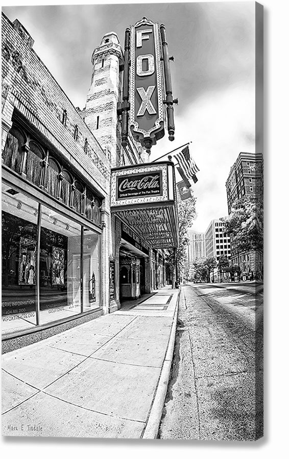 The Fox Theatre - Atlanta Black And White Canvas Print