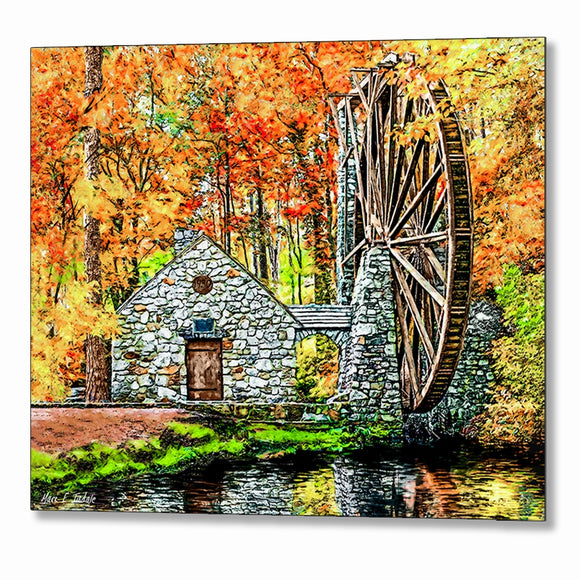 The Old Mill in The Fall - Berry College Metal Print
