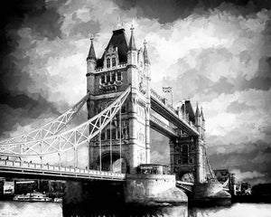 Tower Bridge - London Black And White Art Print