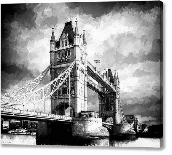 Tower Bridge - London Black And White Canvas Print