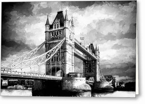 Tower Bridge - London Black And White Greeting Card