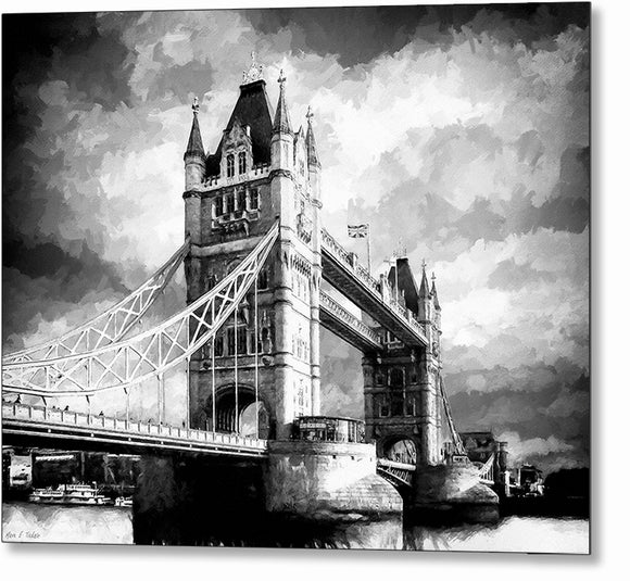 Tower Bridge - London Black And White Metal Print