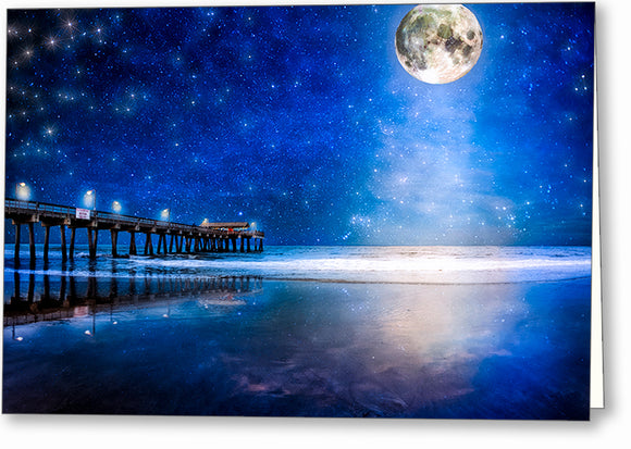 Tybee Island Beach At Night Greeting Card