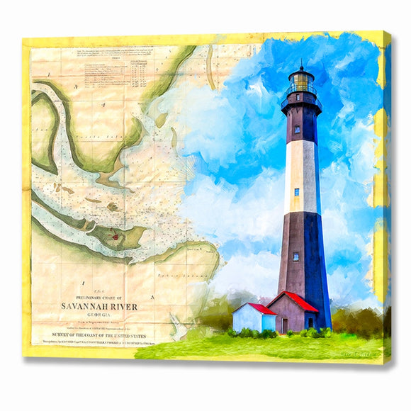 Tybee Island Lighthouse - Vintage Map Canvas Print