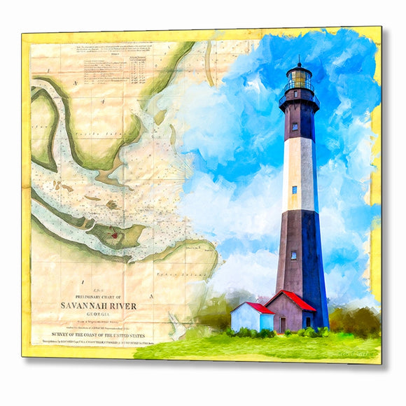 Tybee Island Lighthouse - Vintage Map Metal Print