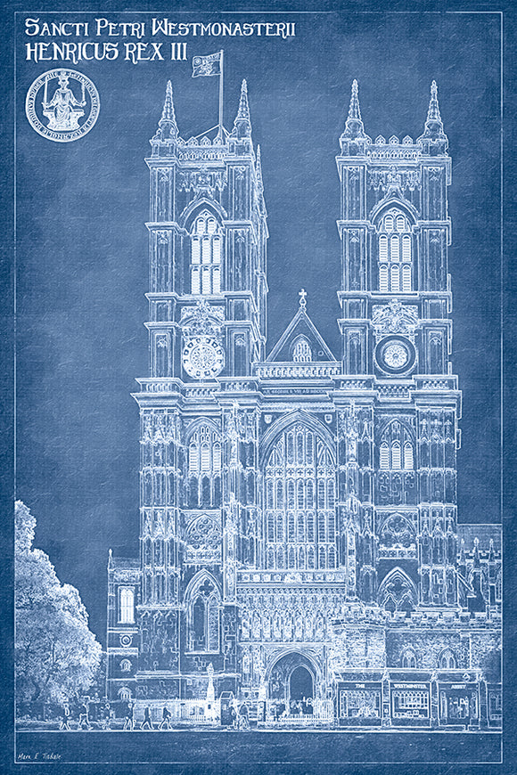 Westminster Abbey Blueprint - London Architecture Art Print