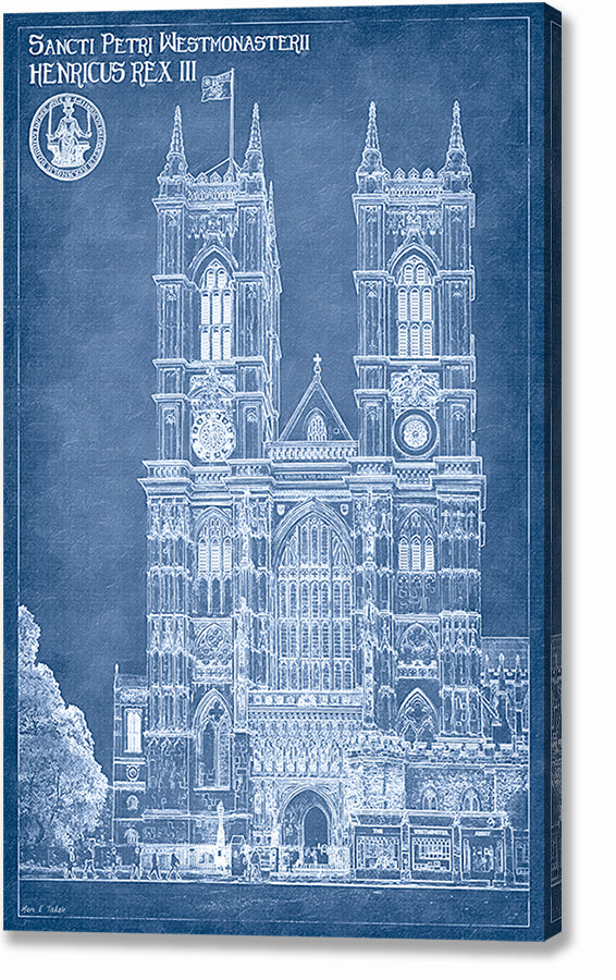 Westminster Abbey Blueprint - London Architecture Canvas Print
