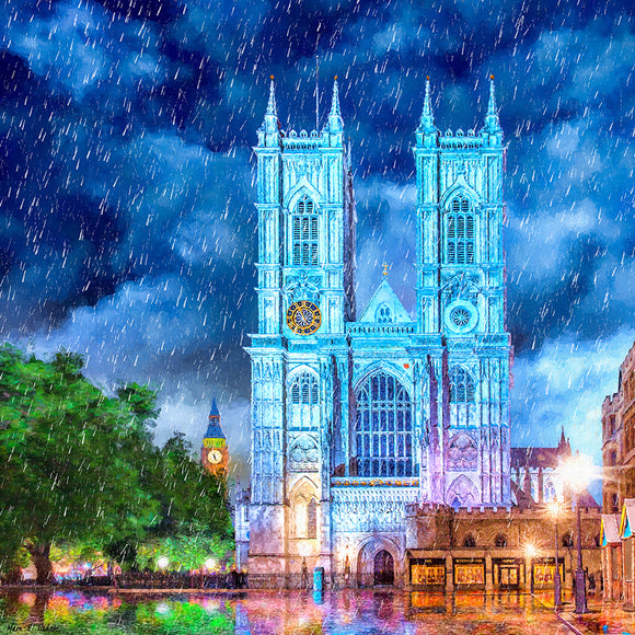 Westminster Abbey In The Rain - London Art Print