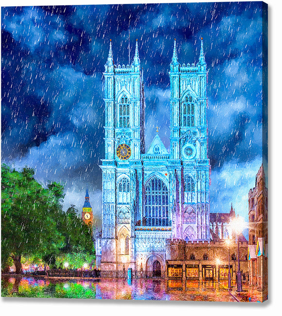 Westminster Abbey In The Rain - London Canvas Print