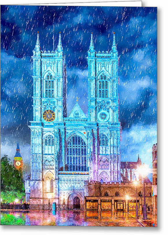 Westminster Abbey In The Rain - London Greeting Card