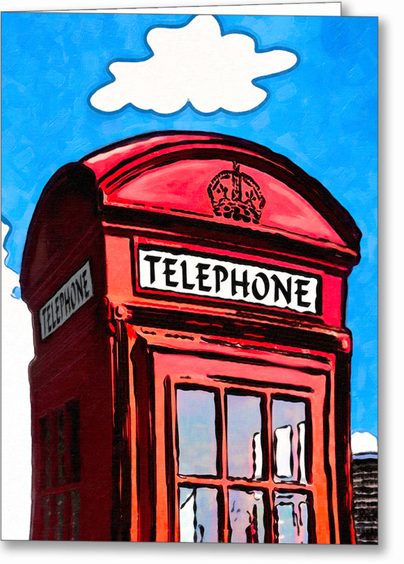 Whimsical Red Phone Box - London Greeting Card