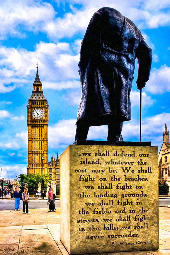 Winston Churchill Quote - Never Surrender Art Print