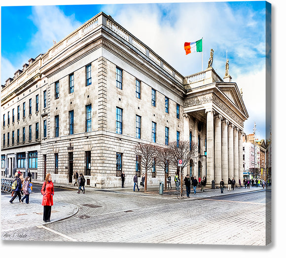 Woman In Red - Dublin Ireland Post Office Canvas Print