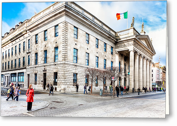 Woman In Red - Dublin Ireland Post Office Greeting Card