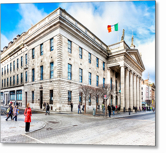 Woman In Red - Dublin Ireland Post Office Metal Print