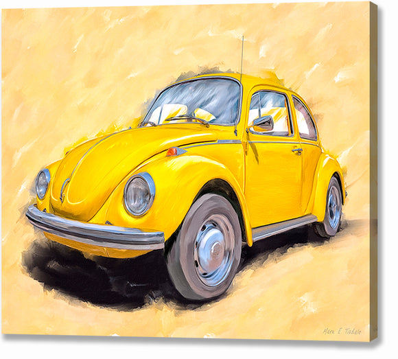 Yellow VW Beetle - Classic Car Canvas Print