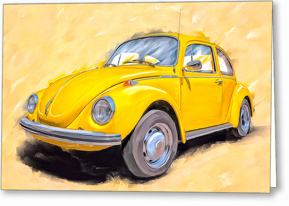 Yellow VW Beetle - Classic Car Greeting Card