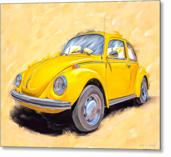 Yellow VW Beetle - Classic Car Metal Print