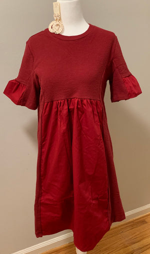 Crimson Mixed Media Dress