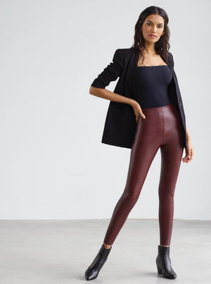 Faux Leather Legging with Perfect Control (Oxblood)