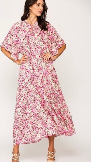 Riley Floral Maxi Dress (Rose)