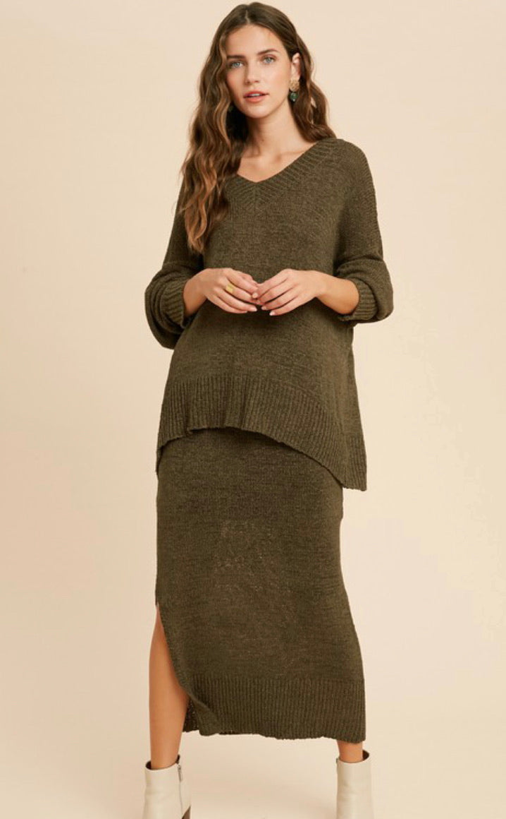 Abigail Knit Sweater (Olive)