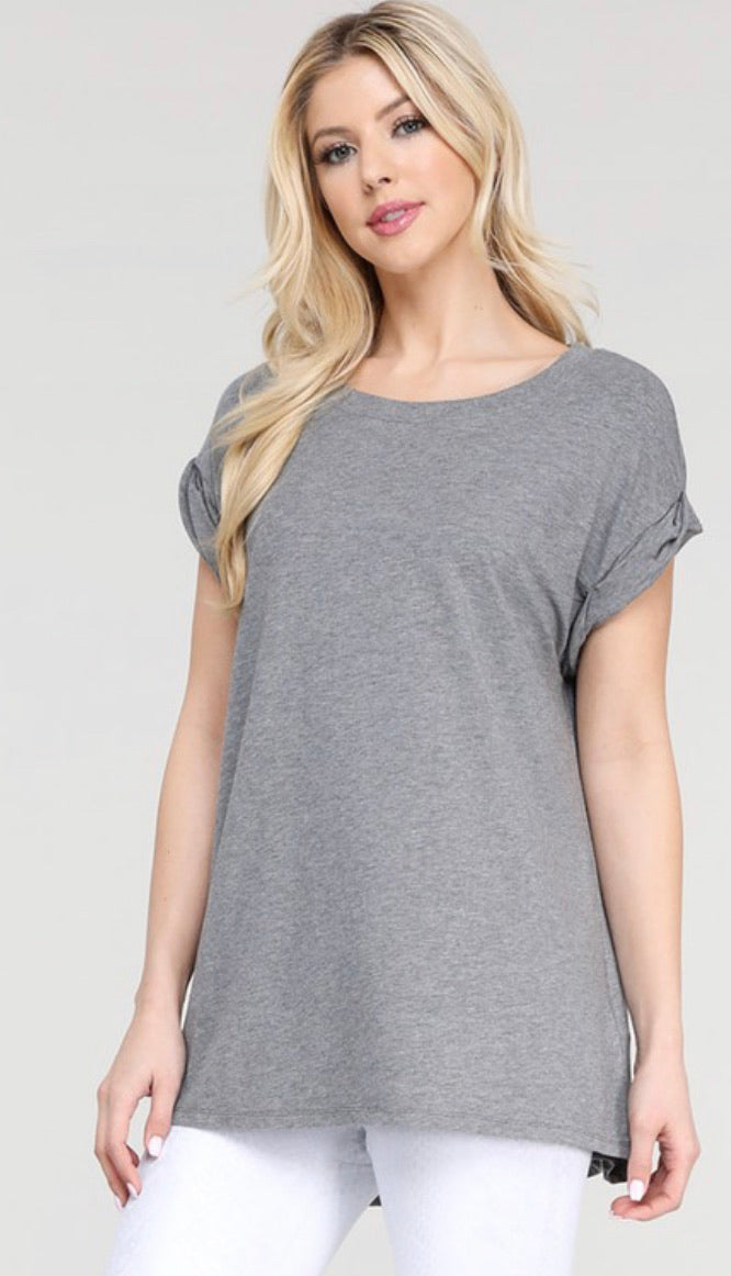 Harlow Twist Sleeve Tee (Grey)