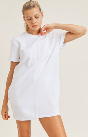 Maisie Mineral-Washed Tennis Dress (White)