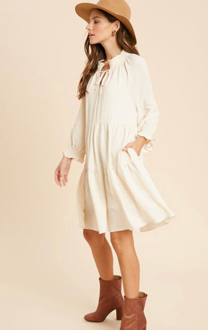 Lettie Crinkle Babydoll Dress (Ivory)