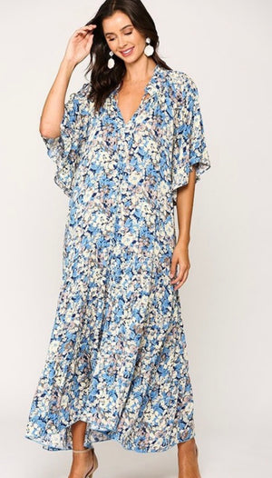 Riley Floral Maxi Dress (Periwinkle)