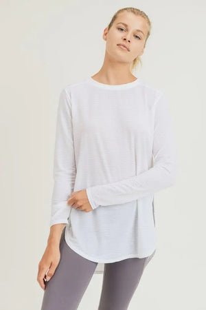 Miya Mesh Top with Side Slits (White)