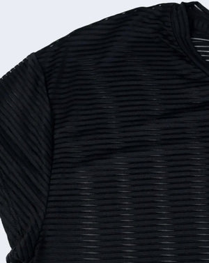 Merritt Striped Mesh Short Sleeve Top (Black)