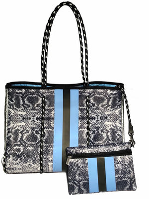 Neverfull Tote & Pouchette (Snake/Periwinkle)