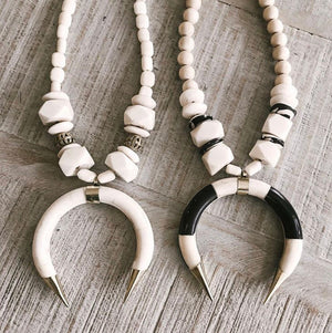 The Black and White Crescent Necklace