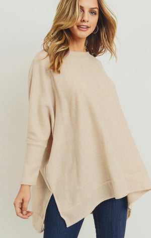 Bella Brushed Knit Tunic (Oatmeal)