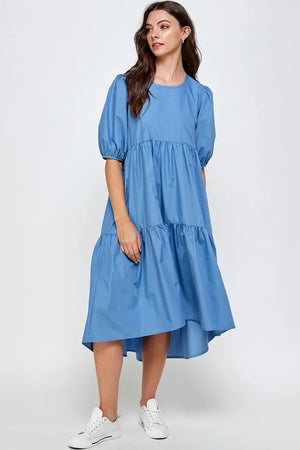 Naomi Tiered Poplin Midi Dress (Blue)